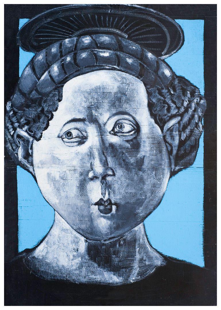 La Madonna Uccello, olio su cartone, 140 x 100 cm