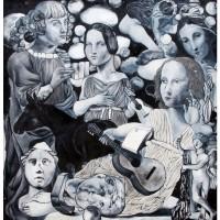 Apollo e Muse, olio su tela, 128 x 132