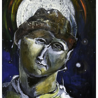 L'Uomo della Luna (Carlo Levi), olio su tela, 140 x 100 cm
