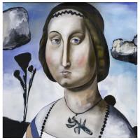 La Dama del Collare, olio su tela, 100 x 100 cm