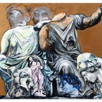 Due Accademici riflettono sul Tempo, olio su tela, 120 x 150 cm