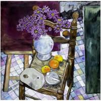 Natura morta con Fiori, olio su tela, 101 x 101