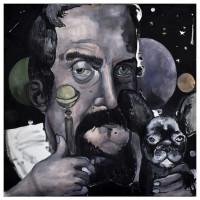 Galileo e il cane Tolomeo, olio su tela, 100 x 100 cm