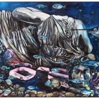 Quo Vadis Marina Fish Blues I, olio su tela, 150 x 350 cm