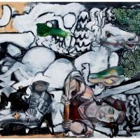 San Giorgio e il Drago, olio e carta su tela, 120 x 150 cm