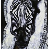 Ritratto di Zebra Rinascimentale, olio su tela, 100 x 60 cm