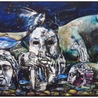 Quo Vadis Marina Fish Blues II, olio su tela, 150 x 380 cm