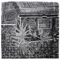 Estudio de Lineas con vista al Jardin, Linografia, 70 x 50 cm