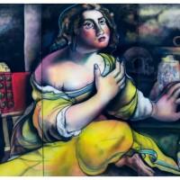 Maddalena Penitente, trittico, aerografia su tela, 180 x 220 cm