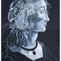La Dama delle Perle, olio su cartone, 140 x 100 cm