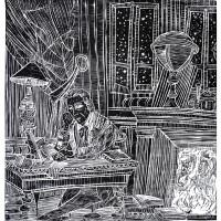 Lu Verrier scopre il pianeta Nettuno, Linografia, 70 x 50 cm