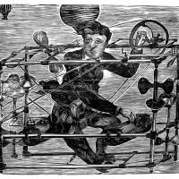 La Macchina Volante del Dottore Ayres, Xilografia, 40 x 60 cm