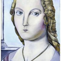 Dama con Liocorno, olio su tela, 80 x 40 cm