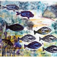 Pesci Emanueliani 3, Xilografia e Tecnica Mista, 70 x 100 cm
