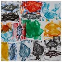 Pesci Emanueliani 7, Xilografia e Tecnica Mista, 50 x 50 cm