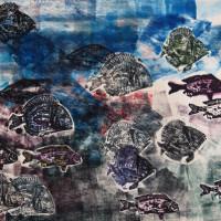 Pesci Emanueliani 11, xilografia e tecnica mista, 70 x 100 cm