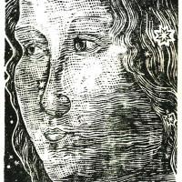 Ritratto di Dama, Linografia, 35 x 21 cm