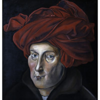 L'Uomo con Turbante, olio su tela, 50 x 50 cm