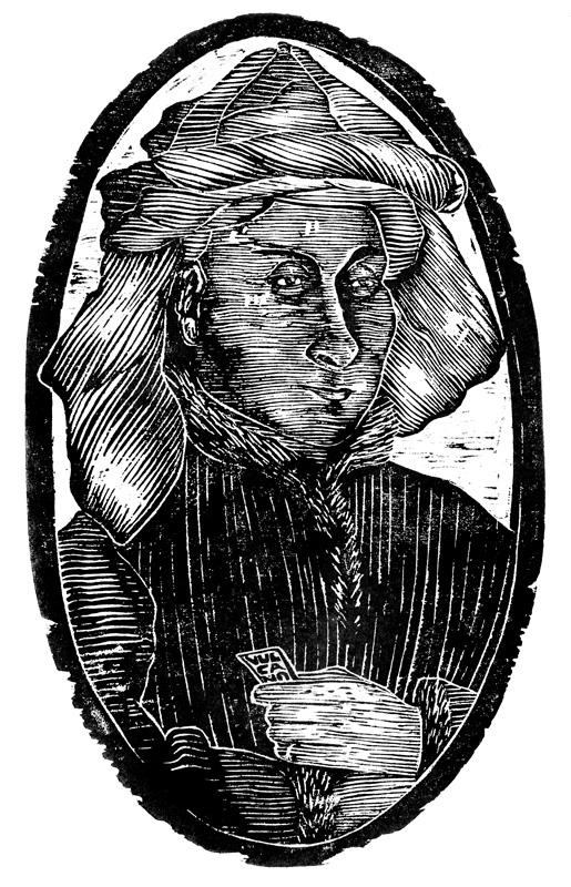 L'Uomo con Turbante II, Xilografia, 40 x 25 cm