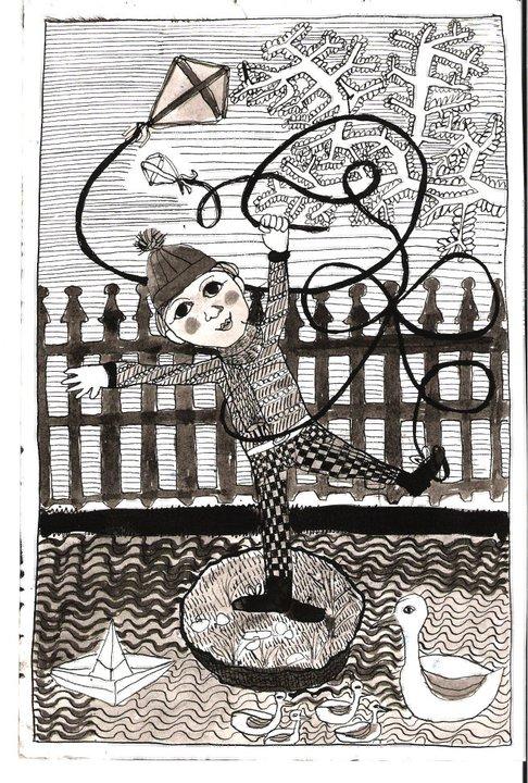 El Niño y la Cometa, china su carta, 15 x 10 cm