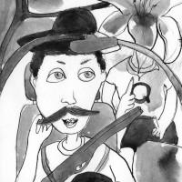 Alucinaciòn en el automòvil, china su carta, 15 x 10 cm